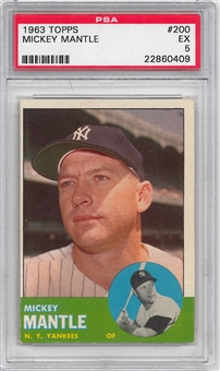 1963 Topps Baseball #200 Mickey Mantle PSA 5 (EX) *0409
