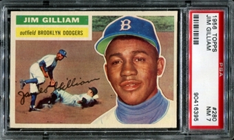 1956 Topps Baseball #280 Jim Gilliam PSA 7 (NM) *6395