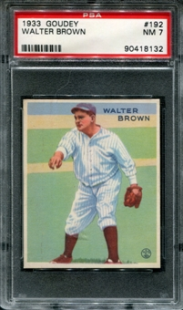 1933 Goudey Baseball #192 Walter Brown PSA 7 (NM) *8132
