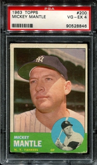 1963 Topps Baseball #200 Mickey Mantle PSA 4 (VG-EX) *8846