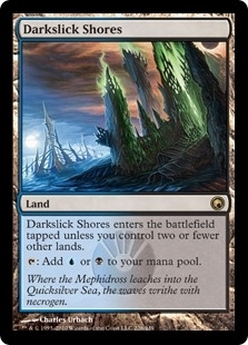 Magic the Gathering Scars of Mirrodin Single Darkslick Shores - SLIGHT PLAY (SP)