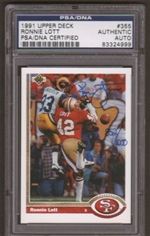 1991 Upper Deck Ronnie Lott #355 Autographed Card PSA Slabbed (4999)