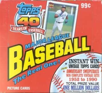 1991 Topps Baseball Rack Box