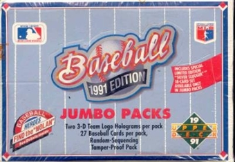 1991 Upper Deck Low # Baseball Jumbo Box