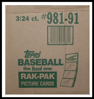 1991 Topps Baseball Rack 3-Box Case