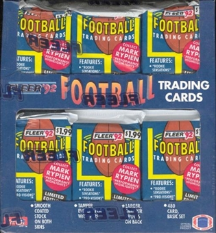 1992 Fleer Football Jumbo Pre Priced Box