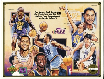 1992 Upper Deck Utah Jazz Stay In School Commemorative Sheet