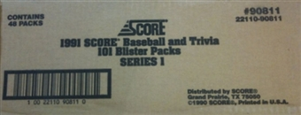 1991 Score Baseball Series 1 Blister 48 Pack Case