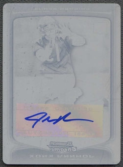 2009 Bowman Chrome Rookie Autographs Printing Plates Black #155 Johnny Knox 1/1