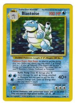 Pokemon Base Set 1 Single Blastoise 2/102 - LIGHT PLAY