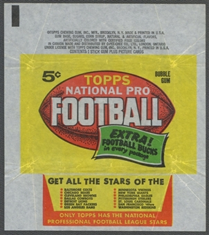1962 Topps Football Wrapper (5 cents)