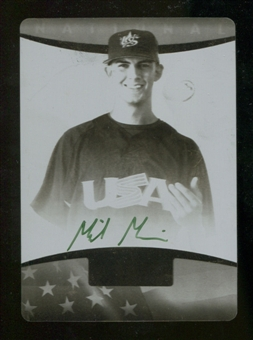 2008 USA Baseball National Team On-Card Signatures Printing Plates Black Front #MM Mike Minor 1/1