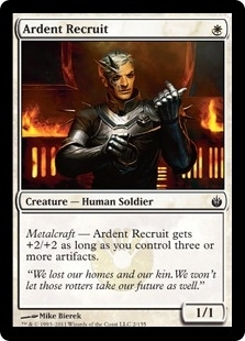 Magic the Gathering Mirrodin Besieged Single Ardent Recruit Foil - SLIGHT PLAY (SP)