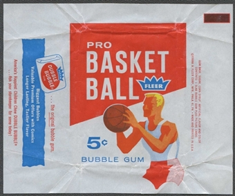 1961/62 Fleer Basketball Wrapper (Dubble Bubble Side Panel)