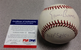 Ernie Banks Autographed Official Rawlings MLB Baseball (PSA COA)