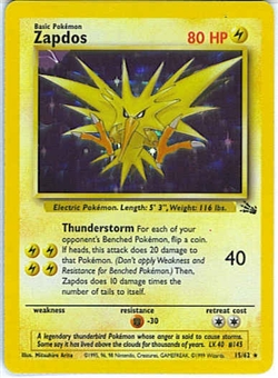 Pokemon Fossil Single Zapdos 15/62 - SLIGHT PLAY (SP)