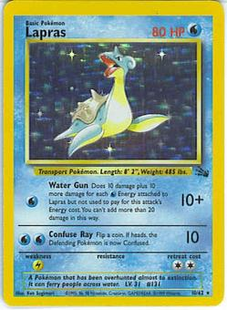Pokemon Fossil 1st Edition Single Lapras 10/62