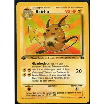 Pokemon Fossil 1st Edition Single Raichu 14/62
