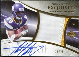 2007 Upper Deck Exquisite Collection Gold #133 Adrian Peterson Rookie Patch Autograph 24/25