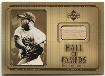 2001 Upper Deck Hall of Famers Game Bat #BRCA Roy Campanella
