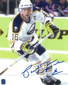 Pat LaFontaine Autographed Buffalo Sabres White Throwback 8x10 Photo