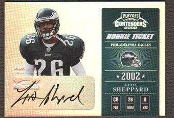 2002 Playoff Contenders Lito Sheppard Rookie Auto #333/410