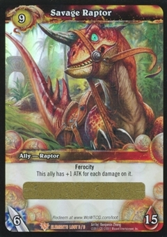 WoW War of the Elements Single Savage Raptor UNSCRATCHED LOOT Card