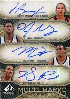2009-10 SP Game Used Quad Auto Jerryd Bayless Conley O.J. Mayo Derrick Rose /50