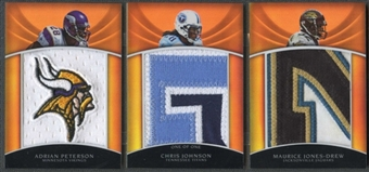 2010 Topps Triple Threads #TTRC2 Chris Johnson Adrian Peterson Maurice Jones-Drew Platinum Booklet Patch #1/1