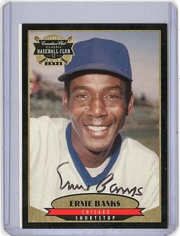 1996 Ernie Banks Canadian Club Classic Card on Card Signature with COA