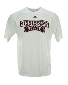 Mississippi State Bulldogs Adidas White Climalite Performance Tee Shirt (Adult M)