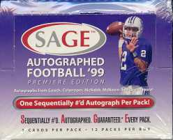 1999 Sage Autographed Football Hobby Box
