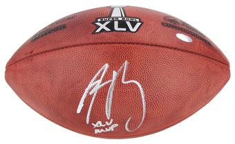 "Aaron Rodgers Autographed Green Bay Packers Authentic Duke Game Ball with ""XLV MVP"" Inscrip (Steiner)"