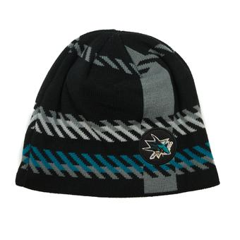 San Joes Sharks Old Time Hockey Black Bolgar Beanie Knit Hat (Adult OSFA)