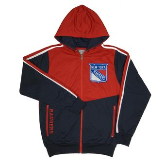 New York Rangers Old Time Hockey Chaser Navy & Red Full Zip Hoodie (Adult L)
