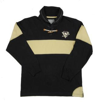 Pittsburgh Penguins Old Time Hockey Jerry Black Toggle Long Sleeve Crew (Adult L)