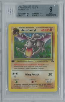 Pokemon Fossil 1st Edition Prerelease Aerodactly 1/62 BGS 9 MINT (9.5, 9, 9, 8.5)