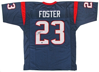 Arian Foster Autographed Houston Texans Custom Jersey - Blue (Leaf COA)