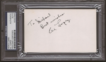 Al Lopez Autograph (Index Card) PSA/DNA Certified *7945