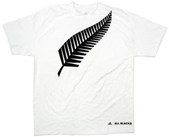 New Zealand All Blacks Adidas White Big Fern SS Shirt Adult M