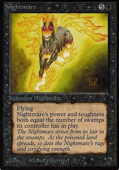 Magic the Gathering Alpha Single Nightmare - MODERATE PLAY (MP) Inked Corner