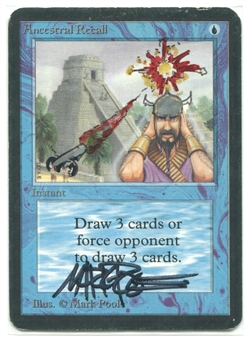 Magic the Gathering Alpha Single Ancestral Recall ARTIST ALTERED - MODERATE PLAY (MP)