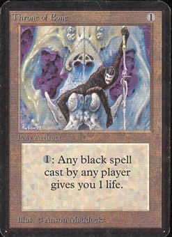 Magic the Gathering Alpha Single Throne of Bone LIGHT PLAY (NM)