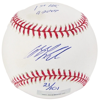 Andy LaRoche Autograph Baseball w/1st HR inscrip(Slightly Stained)(DACW COA)