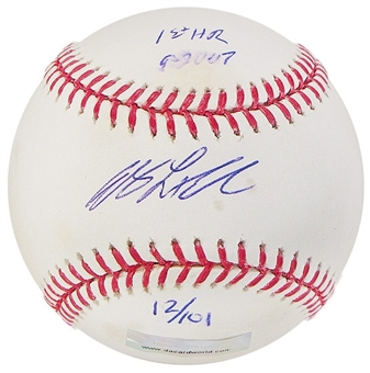 Andy LaRoche Autograph Baseball w/1st HR inscrip(Stained)(DACW COA)