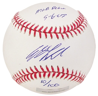 Andy LaRoche Autograph Baseball w/Debut inscrip (Near Mint)(DACW COA)