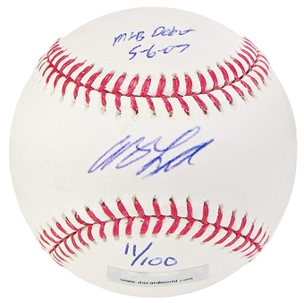Andy LaRoche Autograph Baseball w/Debut inscrip (Stained)(DACW COA)