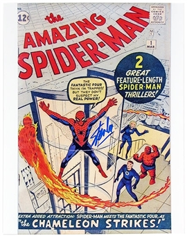 Stan Lee Autographed 11x14 Amazing Spiderman 1 Comic Cover Photo