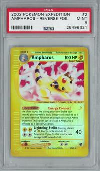 Pokemon Expedition Ampharos 2/165 Reverse Foil Rare PSA 9