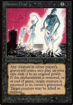 Magic the Gathering Alpha Single Animate Dead - MODERATE PLAY (MP)